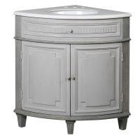 Sink Unit - Carved Reclaimed Washed Oak - Grey Marble Top - Corner Sink Unit