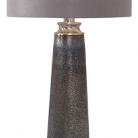Table Lamp - Textured Glass Table Lamp & Round Grey Suede Shade