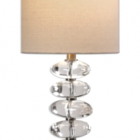 Table Lamp - Crystal Egg Table Lamp & Round Beige Shade