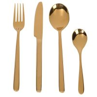 Cutlery Set - 24 Piece Highly Polished Gold Cutlery Set