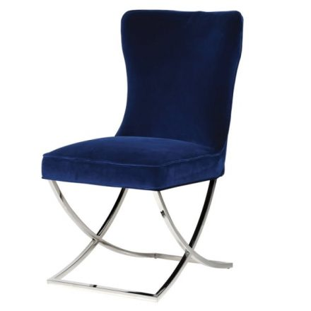 Dining Chair - Blue Velvet - Deep Buttoned High Back Dining Chair - Chrome Legs