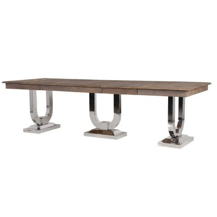 280cm Dining Table - Reclaimed American Oak & Chrome Dining Table - Extendable