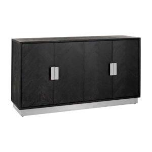 Sideboard - Chrome & Black Ash Herringbone Finish - 4 door - Blackbone Collection