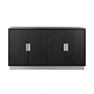 Sideboard - Chrome & Black Ash Herringbone Finish - 4 door - Blackbone Collection