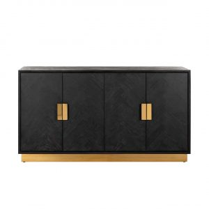 Sideboard - Brass & Black Ash Herringbone Finish - 4 door - Blackbone Collection