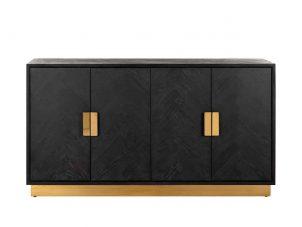 Sideboard - Brass & Black Ash Herringbone Finish - 4 door - Blackbone Collection