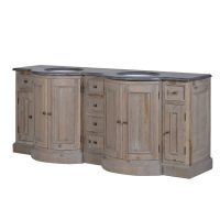 Sink Unit - Carved Reclaimed Washed Oak - Black Marble Top - Double Sink Unit