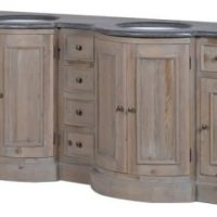Double Sink Unit - Carved Reclaimed Washed Oak - Black Marble Top - Drawers & Cupboards