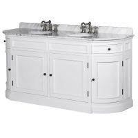 Sink Unit - Solid Oak White Painted Double Sink Unit - Marble Top - Splash Back