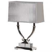 Table Lamp - Double Light Oblong Chrome Table Lamp - Silver Oblong Shade