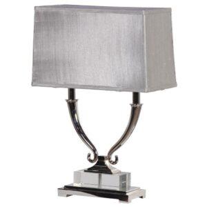 Table Lamp - Double Light Oblong Chrome Table Lamp - Silver Oblong Shade