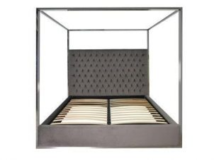 6ft Super King-Size Bed - Chrome Surround 4 Poster Bed - Quartz Stone Velvet