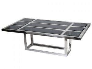 220cm Dining Table - Polished Chrome - Smoked Glass - Rectangular Dining Table