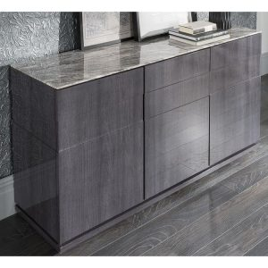 Sideboard - High Gloss Base & Marble Top - Contemporary - Dominican Collection