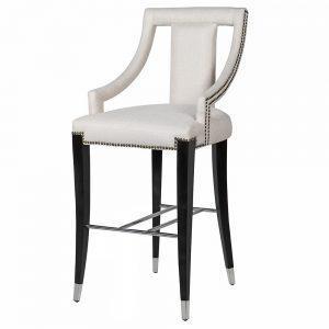 Bar Stool - Black Surround - Studded Cream Fabric - Foot Rest
