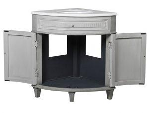 Corner Sink Unit - Carved Reclaimed Washed Oak - Grey Marble Top