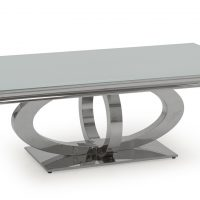 Coffee Table - Chrome Based & White Tempered Glass Coffee Table -130cm