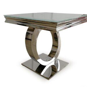 Lamp Table - Chrome Based & White Tempered Glass Lamp Table - 60cm