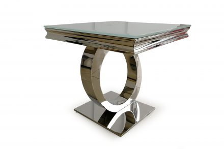 Lamp Table - Chrome Based & White Tempered Glass Lamp Table - 60cm