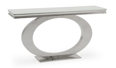 Console Table - Chrome Based & White Tempered Glass Console Table -140cm
