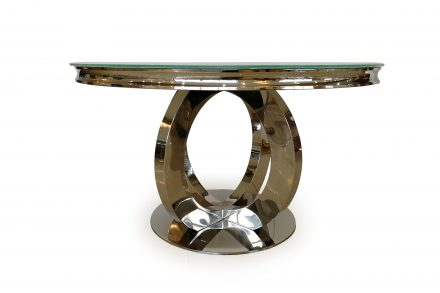 Dining Table - Chrome Based & White Tempered Glass Dining Table - 130cm
