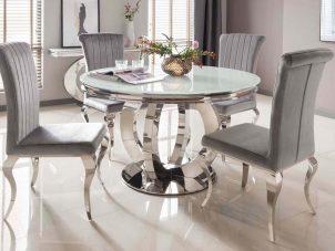 130cm Dining Table - Chrome Based - White Tempered Glass Dining Table - 4 Velvet Chairs