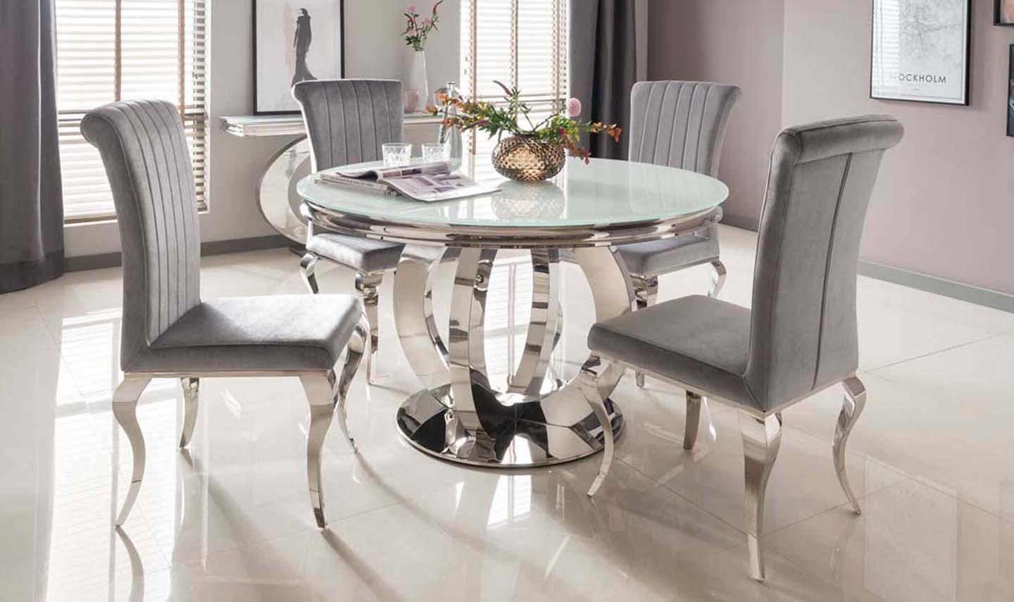 Dining Table Chrome Based White Tempered Dining Table 130cm