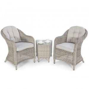 Seat Bistro Set - Glass Top Table & 2 Chairs - Grey Round Polyweave