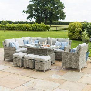 Corner Sofa Garden Dining Set - Rising Coffee Table - Ice Bucket - Armchair - Grey Poly Rattan