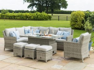 Corner Sofa Garden Dining Set - Rising Coffee Table - Ice Bucket - Armchair - Grey Poly Rattan