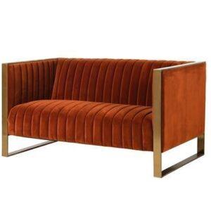 2 Seater Sofa - Deep Ribbed Burnt Orange Velvet - Brass Finished