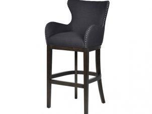 Bar Stool - Oak Legs - Knocker Back - Chrome Studded - Charcoal Fabric