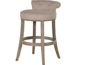 Bar Stool - Washed Oak Legs - Studded - Roll Top - Beige Linen Fabric