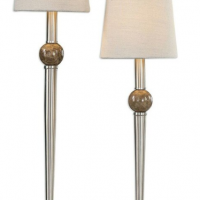 Table Lamp - Brushed Nickel Double Shaded Table Lamp Ivory Linen Shade