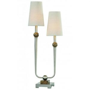 Table Lamp - Brushed Nickel Double Shaded - Ivory Linen Shade