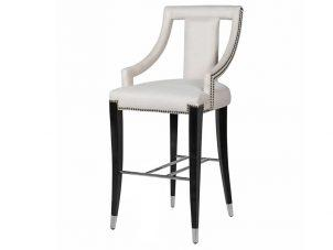 Bar Stool - Black Surround - Studded Cream Fabric - Chrome Foot Rest