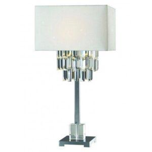 Table Lamp - Polished Chrome Base - Crystal Design - Oblong White Shade