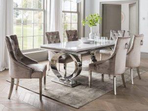 200cm Dining Table Set - Chrome & Bone White Marble - 6 Champagne Velvet Chairs