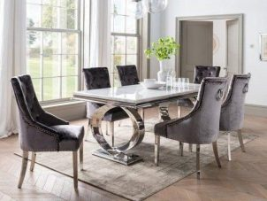 200cm Dining Table Set - Chrome & Bone White Marble - 6 Charcoal Velvet Chairs