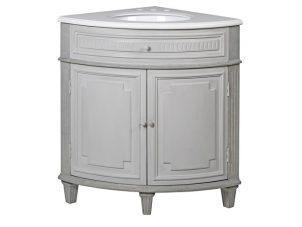 Corner Sink Unit - Carved Reclaimed Washed Oak - Grey Polished Stone Top