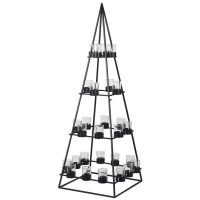 Pyramid T Light Candle Holder - Metal & Glass