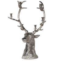 Stag Candle Holder - Large Christmas Reindeer 6 Candle Holder - Nickel