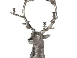 Stag Candle Holder - Large Christmas Reindeer 6 Candle Holder - Nickel