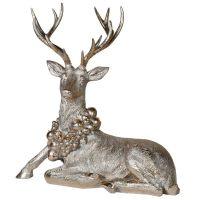 Sitting Deer - Opulent Golden Large Christmas Deer