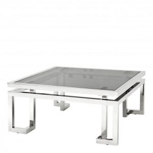 Coffee Table - Black Glass & Polished Chrome - Brass & Chrome Range