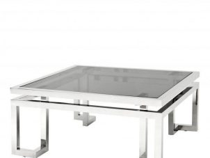 Coffee Table - Black Glass & Polished Chrome - Brass & Chrome Range