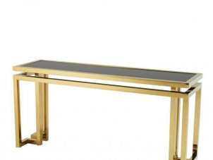 Console Table - Black Glass & Polished Brass Console Table - Parma Brass Range