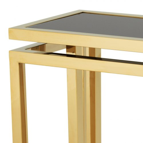 Console Table - Black Glass & Polished Brass - Parma Brass Range
