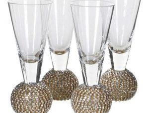 Shot Glasses - Gold Crystal Ball Design - Set Of 4