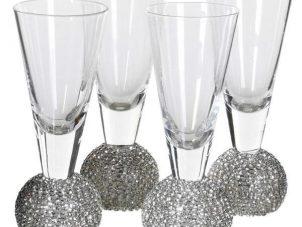 Shot Glasses - Silver Crystal Ball Design - Set Of 4